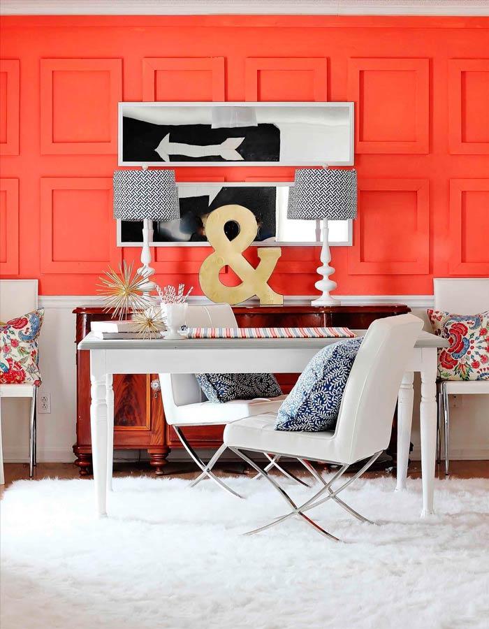 decoracion de paredes para el hogar living coral